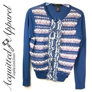 Marc Jacobs Blue Frilly Ruffle Cardigan Sweater